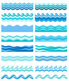 Collection Of Marine Waves, Stylized Design Stock Image