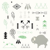 Collection Of Native American Symbols With Cute Baby Buffalo Stock Photos