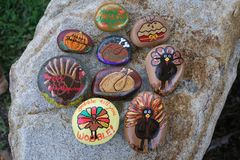 Free Collection Of Nine Small Rocks Painted For Thanksgiving Royalty Free Stock Photo - 103438785