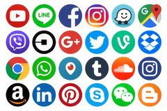 Free Collection Of Popular Round Social Media Icons Stock Photography - 116875402