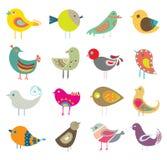 Collection Of Retro Cute Decorative Colorful Birds.Intricate Vector Illustration Design Set.Cartoon Stock Photography