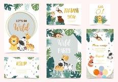 Free Collection Of Safari Background Set With Giraffe,fox,monkey,zebra.Vector Illustration For Birthday Invitation,postcard And Sticker Royalty Free Stock Photos - 163799558