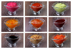 Collection Of Sauces Stock Photos