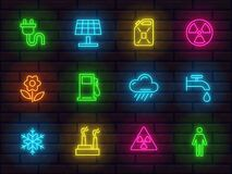 Free Collection Of Shiny Neon Colorful Icons Signs Symbols Ecology Theme Part 3 Stock Photo - 176462530