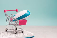Collection Of Shopping Cart Full Of Shopping Time.Top View Or F Royalty Free Stock Photos