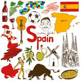 Collection Of Spain Icons Royalty Free Stock Photos