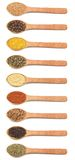 Collection Of Spices In Wooden Spoons Royalty Free Stock Photo
