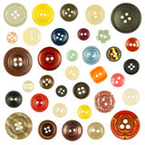 Collection Of Various Buttons On White Background Stock Image