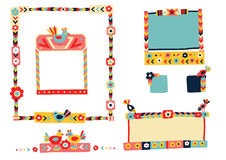 Collection Of Vector Folk Frames Royalty Free Stock Photography