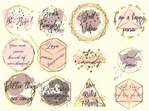 Free Collection Of Vector Golden Frames Wish Watercolor Spots In Female Style With Quotes Stock Images - 107151054