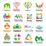 Collection Of Vector Logos Family Royalty Free Stock Photo
