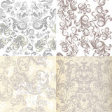 Collection Of Vector Patterns In Light Colors With Victorian Swirls Royalty Free Stock Images