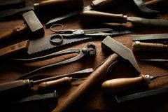 Free Collection Of Vintage Hand Tools With Wood Handles Stock Photography - 142753742