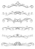 Collection Of Vintage Ornate Decoration Dividers Royalty Free Stock Photos