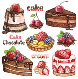Collection Of Watercolor Cakes Royalty Free Stock Images