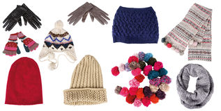 Collection Of Winter Hats, Gloves, And Scarfs Stock Image