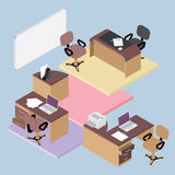 Collection of office furniture. Flat isometric office room interior businessmen concept vector set Royalty Free Stock Photo
