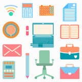 Collection of office objects icons in gentle colors Stock Photos