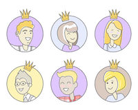 Collection of Office Stars. Best Worker. Vector Stock Images