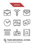 Collection of office trendy thin line icons Stock Images