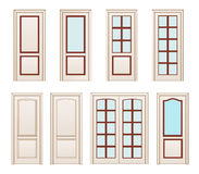 Collection office white doors, Set Technical Drawing. Classic interior doors isolated. illustration doors. Stock Images