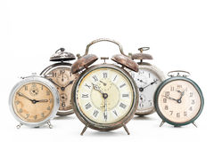 Collection of old alarm clocks Royalty Free Stock Photos