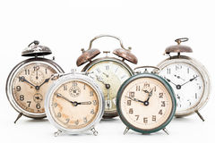 Collection of old alarm clocks Royalty Free Stock Photography