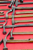 Collection of old antique cobbler's hammers Royalty Free Stock Image