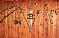 Collection of old antique Spanish weapons royalty free stock photography