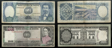 Collection of old banknotes Central Bank of the state of Bolivia, South America. Collection of old banknotes of different denomination, the obverse and reverse Royalty Free Stock Image