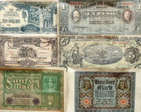 A collection of old banknotes. Royalty Free Stock Photo