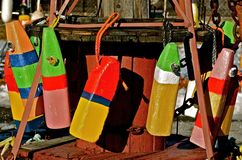 Collection of old buoys for lobster fishing Royalty Free Stock Image
