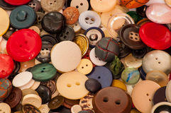 A collection of old buttons,. Royalty Free Stock Images