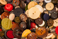 A collection of old buttons,. Royalty Free Stock Photography
