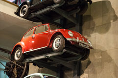 Collection of old cars exhibited in the Museum of Science in London. London's Science Museum is located in South Kesington and is the place that hosts one of Stock Photo