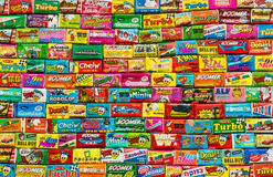 Collection of old chewing gums Stock Photos