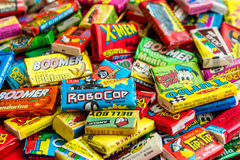 Collection of old chewing gums Royalty Free Stock Image
