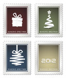 Collection of old christmas postage stamps. (red, blue, green, yellow vector illustration
