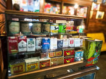 collection of old cigarette boxes Royalty Free Stock Photo