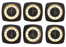 Collection old clocks wall on white background. Stock Photography
