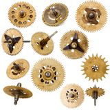 Collection of old clockwork parts Stock Images