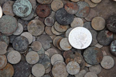 Collection of old coins from different countries. El-Jem market, Tunisia Royalty Free Stock Photos