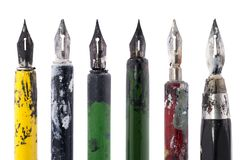 Collection of old colorful pens Royalty Free Stock Photography