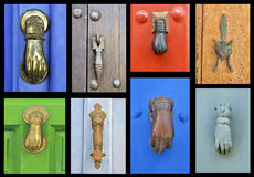 A collection of old door knockers. A collection of eight old knockers or callers Royalty Free Stock Photo