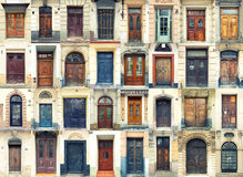 Collection of old doors stock images