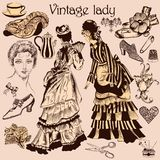 Collection of old-fashioned woman and accessories Royalty Free Stock Photo