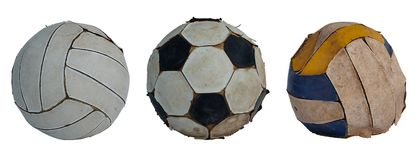 Collection old football and volleyball on white background royalty free stock photos