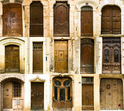 Collection of old french entrance doors. Old elegant obsolete entrance doors Royalty Free Stock Image