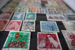 Collection of old german stamps in album stock photos