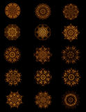 Collection Of Old Gold Copper Buttons Or Motifs. Collection of coppery old gold design elements can be used for web graphics or designs Royalty Free Stock Photography